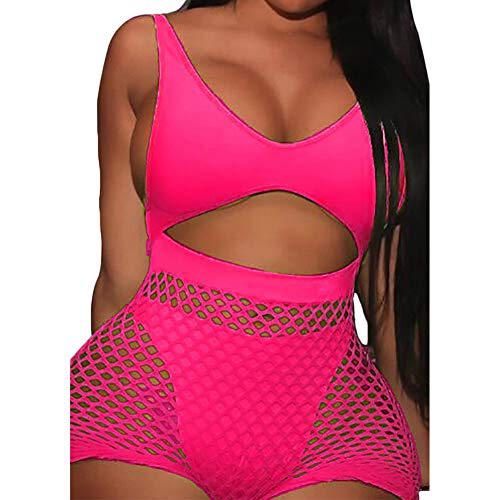 Women Sexy Mesh Bodycon Leotard Romper Crew Neck 2 Piece Jumpsuit Playsuit Bikini Cover Up Lingerie Set (M, Rose Sleeveless)