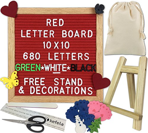 Red Felt Letter Board 10x10 - Stand, Decorations, Bag, Scissors, File, Guide - Vintage Oak Frame & 680 Changeable Green White Black Letters - for Announcements, Gift, Photo Prop, Quotes, Toy, etc. by Kefela