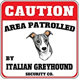 Caution Area Patrolled Italian Greyhound Dog Security Crossing Metal Sign