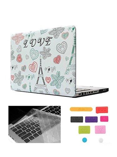 "HYAIT 3-in-1 Ultra Slim Hard Case + Keyboard Cover + Anti-dust Plugs For 15"" Model A1286 Aluminum Unibody MacBook Pro (Black keys, 15.4-inch diagonal regular display) --Eiffel"