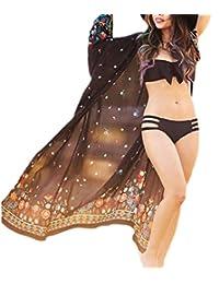 Bsubseach Womens Long Chiffon Beach Blouses Cardigan Kimono Bikini Cover up