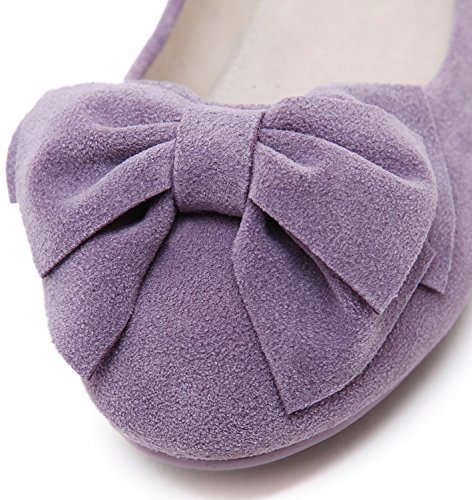 Dolphinbanana Mujer Ballet Flats Floral Colorido Low-cut Faux Nubuck Upper Antideslizante Bow Zapatos Lila 016