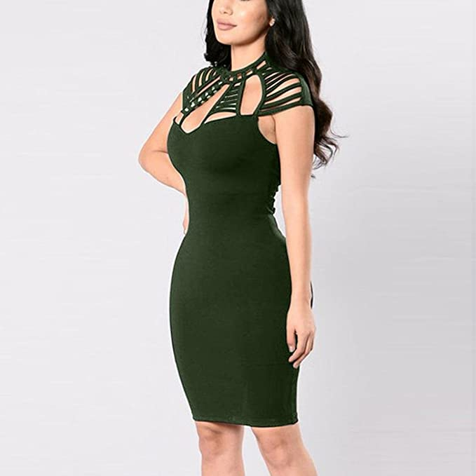 Misaky Women Dress, Bandage Cocktail Sleeveless Club Evening Party Bodycon Dresses at Amazon Womens Clothing store:
