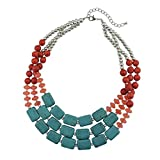 Bocar Statement Strand Turquoise Colorful Chunky Necklace for Women Gifts (NK-10268)