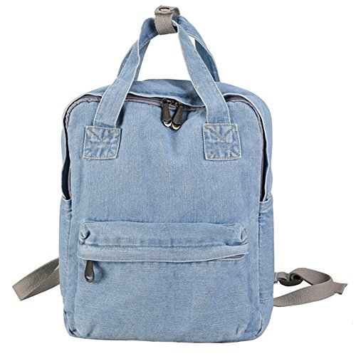 ShengTu Girls Vintage Denim School Backpack Jeans Rucksack (Light Blue)