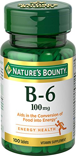 Nature's Bounty Vitamin B6 Supplement, Supports Metabolism and Nervous System Health, 100mg, 100 Tablets