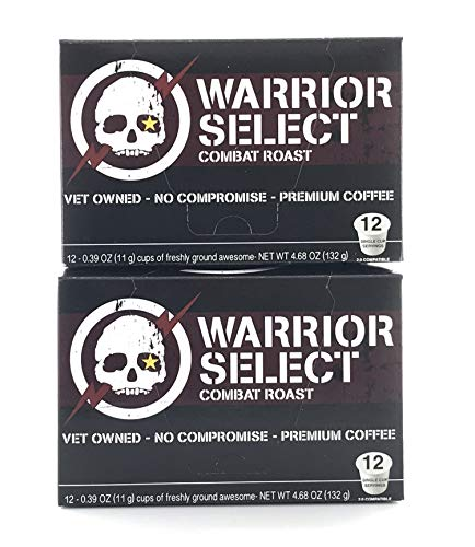 Alpha Coffee, Dark Roast, 2 Boxes of 12 (24 Total K Cup Pods) Single Serve Coffee for Keurig K Cup Brewers, from Central America, Papua New Guinea, Bold Warrior Select Blend Coffee, 100% Arabica