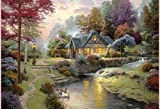 Van Eyck Small River Scenery Thomas Kinkade Landscape Painting Prints on Canvas Wall Art Picture for Living Room Home Decorations(Inner Framed)