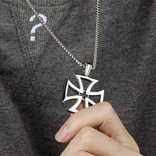 Jiayiqi Acier Inoxydable Unisexe Croix Pendentif Chaîne Réglable