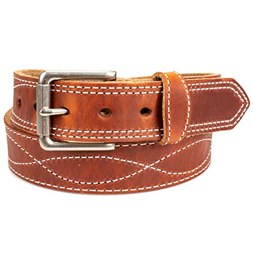 Amish Made Western Leather Tool Belt (52, Waxed Brown) (Big And Tall Western Belts)