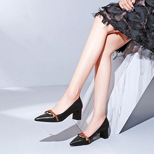 para Calzado mujer Jqdyl Tacones alto solo grueso Black tacón qEAnOwzgn