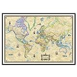 World Antique Mounted Framed Wall Map Frame Color: Black