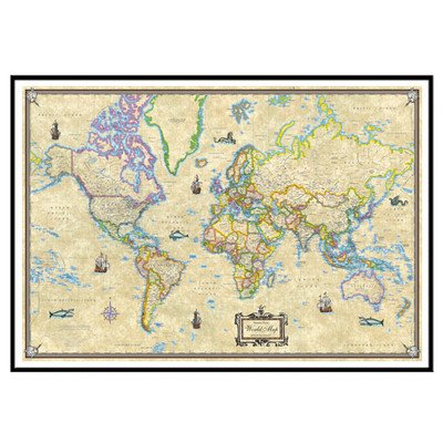 World Antique Mounted Framed Wall Map Frame Color: Black