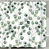Inshere Decorative Shower Curtain Waterproof Polyester Fabric 72 x 72, Funny Bathroom Decor Curtain Hotel Quality, 12 Rustproof Holes with Hooks, Machine Washable Leisure Leaves