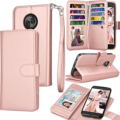 Moto X4 Case, 2017 Motorola Moto X 4th Generation Wallet Case, Tekcoo PU Leather Luxury Cash Credit Card Slots Holder Carrying Folio Flip Cover [Detachable Magnetic Hard Case] & Kickstand - Rose Gold