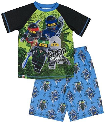 LEGO Ninjago Boys' Big Ninja Moves 2-Piece Pajama Short Set, BLUBLK, 6/7