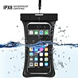 "[Floating] Waterproof Cell Phone Case, RANVOO Dry Bag Pouch for iPhone X 8 8 Plus 7 7 plus 6 6s 6 Plus, Samsung Galaxy S8 Plus, S8,Edge,Note 8,7, LG G5,G6,with Armband and Lanyard, Up to 6.3""- Black"