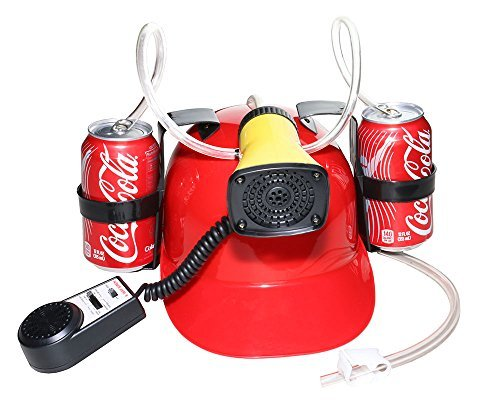 [Beer Cola Soda Helmet Hard Hat Can Holder Drink Night Party Game w/ Siren 7 Different Sounds -Dg] (Beer Drinking Hat)