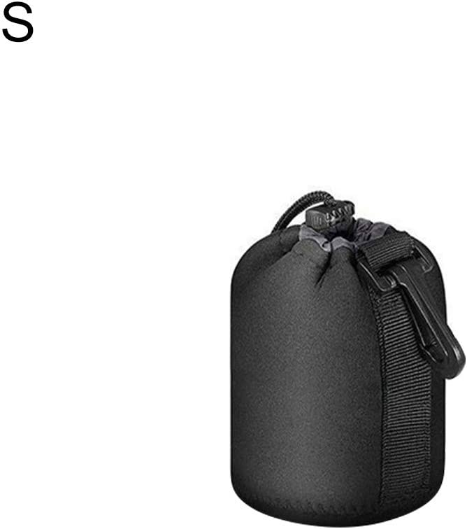 Camera Lens Bag,Wulidasheng Quadcopter Accessories Waterproof Neoprene Drawstring Camera Lens Protector Bag for Canon Nikon Sony Black M