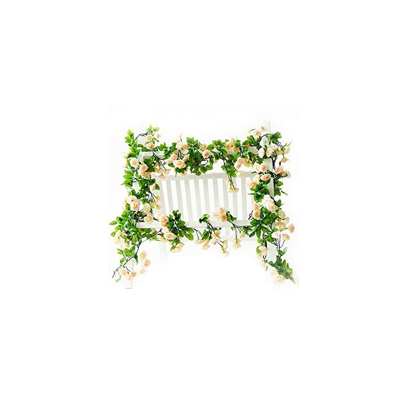 silk flower arrangements li hua cat rose garland artificial rose vine with green leaves 63 inch pack of 3 flower garland for home wedding decoration (champagne)
