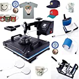 Z ZTDM 5 IN 1 Digital Heat Press Transfer Sublimation Multifunction Machine,Rhinestone/T-Shirt/Hat/Mug/Plate/Cap Mouse Pads Jigsaw Puzzles DIY, Swing Curved Element w/ Dual LCD Timer 12''x15''