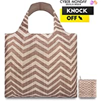 LOQI™ Reusable Grocery Foldable Bags ✔ ECO Shopping HandBags ✔ Tote Bags ✔ Shoulder Bags with Zipper Pouch ✔ Polyester ✔ Earth Clay