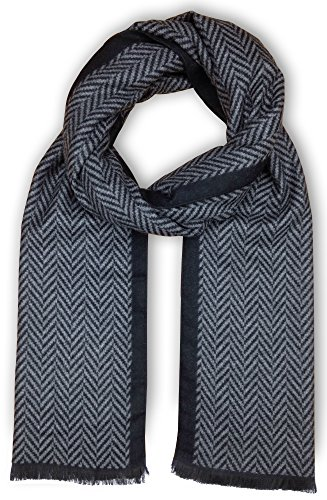 (Bleu Nero Luxurious Winter Scarf for Men and Women - Large Selection of Unique Design Scarves - Super Soft Premium Cashmere Feel Black Grey Herringbone)
