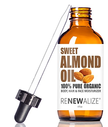 ORGANIC SWEET ALMOND OIL MOISTURIZER - in 4 oz Glass Bottle with Dropper | Best Quality Unrefined Cold Pressed Skincare Lotion Treatment | Essential Natural Personal Massage Oils for the Skin and Body