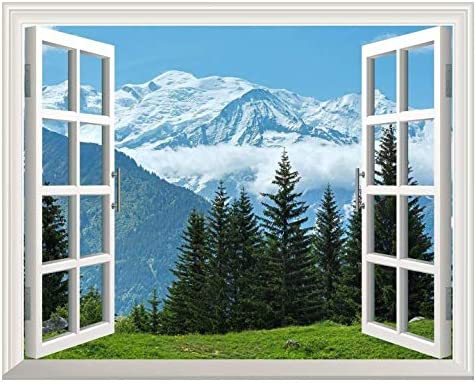 Removable Wall Sticker Wall Mural Snow Mountain and Pine Trees Out of The Open Window Creative Wall Decor
