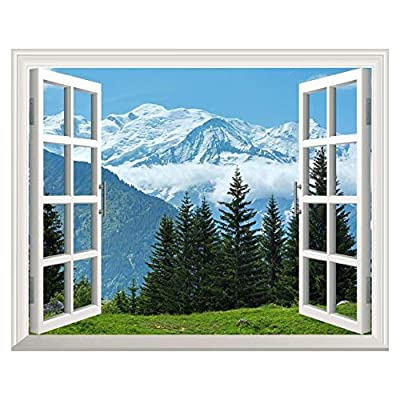 Charming Print, Made With Top Quality, Removable Wall Sticker Wall Mural Snow Mountain and Pine Trees Out of The Open Window Creative Wall Decor