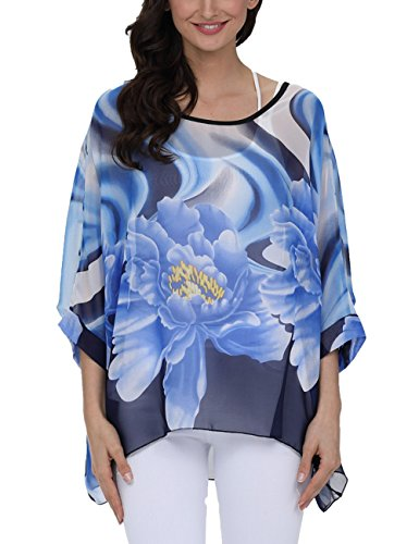 DJT FASHION Beach Kimono,DJT Womens Bohemian Batwing Sleeve Loose Tops Flower Chiffon Blouse Tee Top Shirt One Size Blue Floral #3 Mini Dress Kimono Top