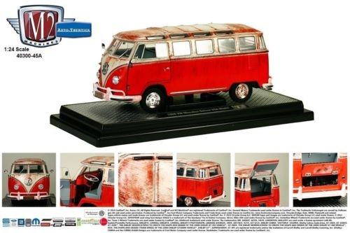 New 1:24 Auto-Thentics - RED 1960 VOLKSWAGEN MICROBUS DELUXE USA MODEL DIRTY VERSION Diecast Model Car By M2 Machines Version Diecast Car Model