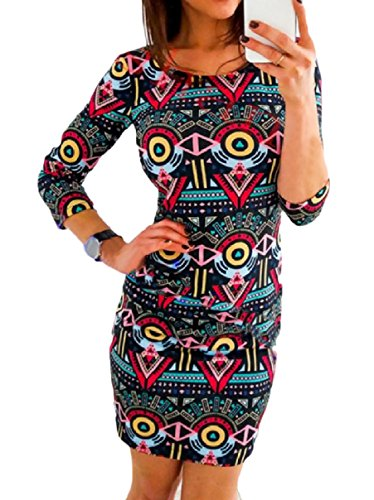 Fitted Women's 3 Black 4 Printed Round Sexy Dress Slim Pencil Neck Howme Sleeve 8nf7dxpXW