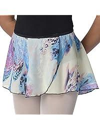 Danshuz Big Girls Blue Leopard Feather Print Over-Lapping Circle Skirt 6X-14
