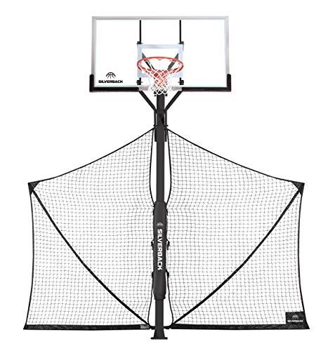 Silverback Basketball Yard Guard Defensive Net System Rebounder with Foldable Net and Arms into Pole (Renewed)