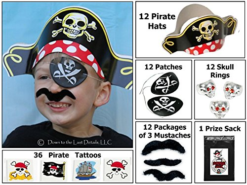 (12 Pirate Dress up Party Favor Pack (12 Pirate Hats, 12 Pirate Patches, 36 Stick-on Mustaches, & 36 Pirate Tattoos) Costume)
