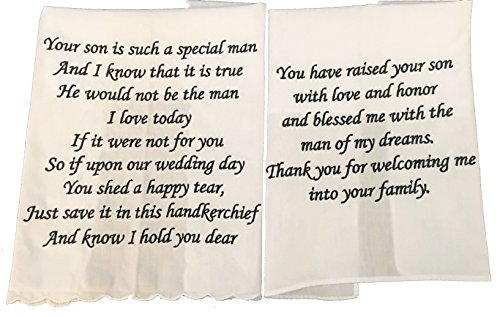 Mother and Father of The Groom Wedding Handkerchief Set (Father Of The Bride Handkerchief)