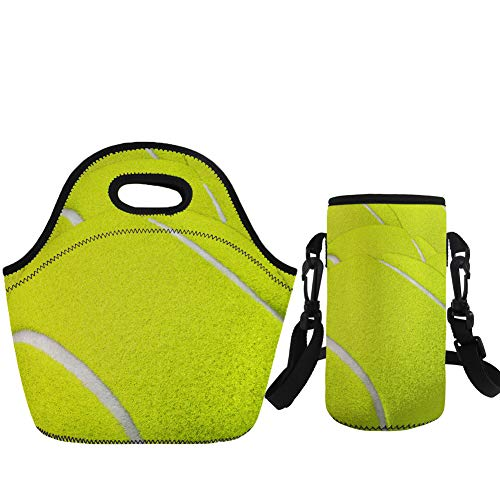 - Coloranimal 2 Piece Set Tennis Insulated Lunch Tote Pouch with Water Bottle Bag
