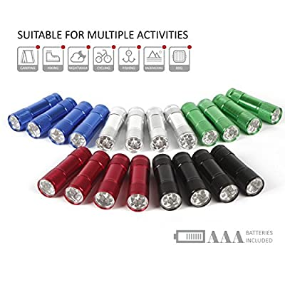 FASTPRO 20-pack Aluminum LED Flashlight Set, 6-LED for brightness, with Lanyard for hang up, 60-piece Batteries Included, with Assorted Colors, Great for Camping, Hiking, Hunting, Fishing and BBQ