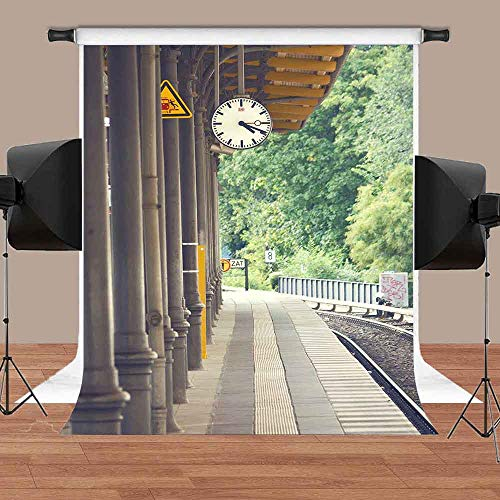 MEETS 5x7ft Train Station Backdrop Brick Floor Pillar Clock Railroad Tree Background Commercial Use Photo Booth Studio Props Themed Party Background MT387