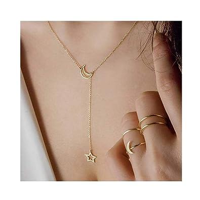 519a6c59a65d8 Amazon.com: Chargances Bohemia Gold Y Lariat Drop MOON and Crystal ...