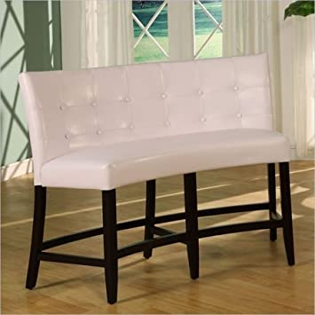 Superb Modus Furniture 2YA470D Bossa Counter Height Banquette, White Leatherette