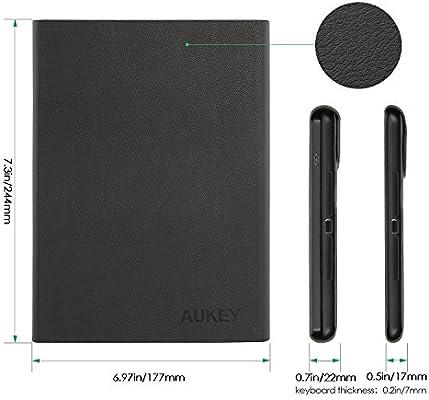 Aukey® Teclado Bluetooth Keyboard Case para iPad Air iPad 5 – Cuero PU Case y extraíble Teclado Alemán con Soporte Magnético Smart Case con Auto ...