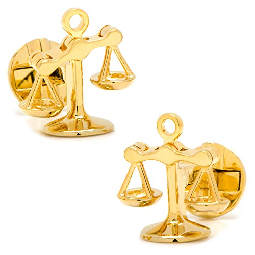 CUFFLINKS INC Moving Parts Gold-Plated Scales of Justice Cufflinks (Gold Plated Justice)