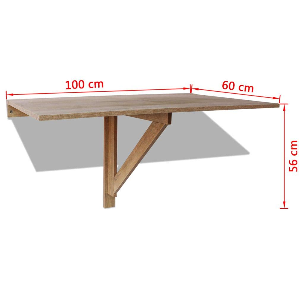 binzhoueushopping Mesa Plegable de Pared de Roble 100 x 60 cm Mesa ...