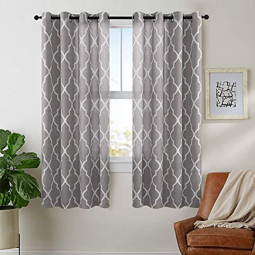 jinchan Moroccan Tile Curtains Print for Living Room Curtain Quatrefoil Flax Linen Blend Textured Grommet Lattice Window Curtain Set for Bedroom Geometry Set of 2 Panels 63