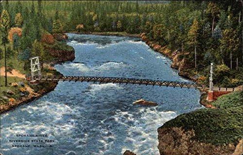 Spokane River at Riverside State Park Spokane, Washington WA Original Vintage Postcard
