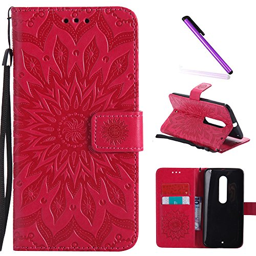 Moto X Style Case,Motorola Moto X Pure Edition Case,LEECOCO Fancy Embossed Floral Pattern Wallet Case with Card / Cash Slots PU Leather Flip Stand Case for Motorola Moto X Style Mandala Red