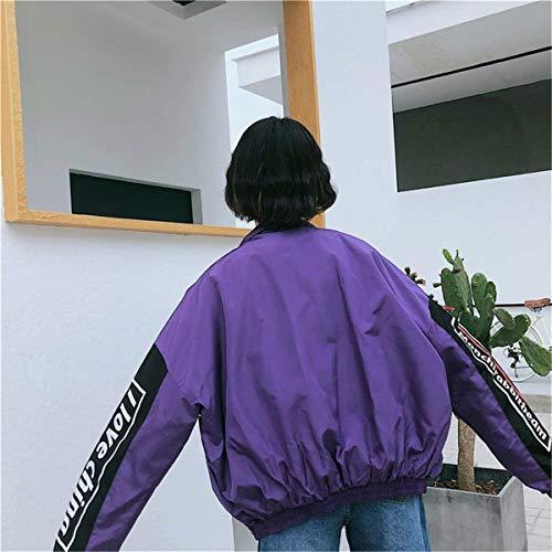 Donne Primaverile Casual Misti A Digitale Sweat Outwear Coreana Giacca Lunga Battercake Giaccone Stampato Collo Autunno Moda Colori Cerniera Lila Manica Donna Elegante Chiusura Casuale avwE74wxq