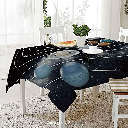 BeeMeng Large dustproof Waterproof Tablecloth,Family Table Decoration,Galaxy,Solar System All Eight Planets and The Sun Pluto Jupiter Mars Venus Science Fiction,Black Grey,70 x 104 inches